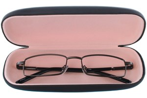 Click to swap image to alternate 1 - Amcon Protective Clam Eyeglasses Case Black 50 - Black