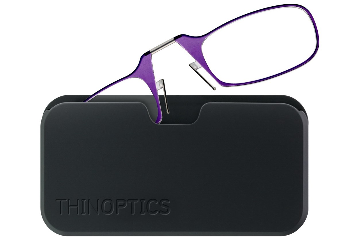 ThinOPTICS Reading Glasses with Universal Pod Case Bundle  - Purple