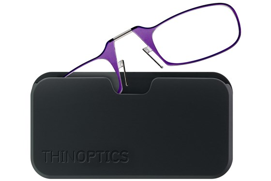 ThinOPTICS Reading Glasses with Universal Pod Case Bundle ReadingGlasses - Purple