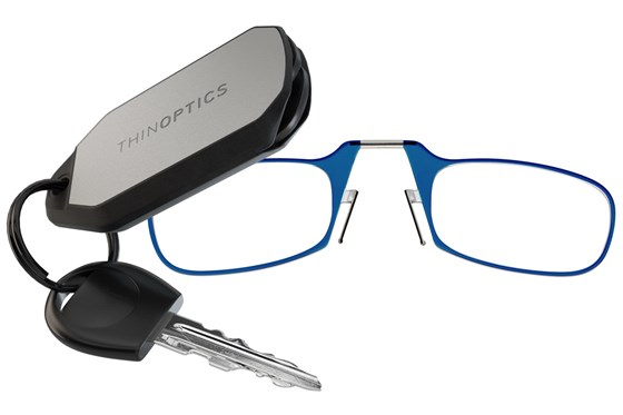 ThinOPTICS Keychain Case & Readers ReadingGlasses - Blue