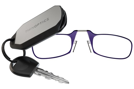 ThinOPTICS Keychain Case & Readers ReadingGlasses - Purple