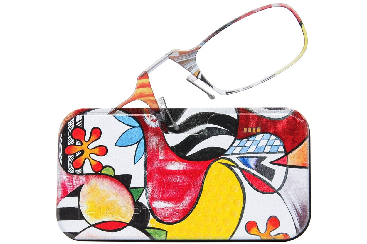 ThinOPTICS Reading Glasses with Universal Pod Case Bundle - Design  - Multi